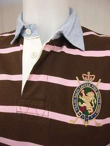 NWT Ralph Lauren $90 Rugby Polo Shirt Mesh Brown Pink