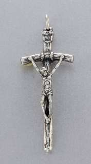 Pope Wood Style Sterling Silver Crucifix Cross Pendant