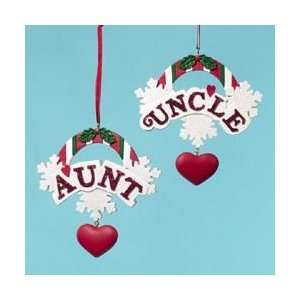 Club Pack of 12 Aunt & Uncle Christmas Ornaments for