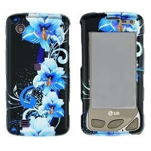 LG Chocolate Touch VX8575 Blue Flower Hard Case Cover Protector (free