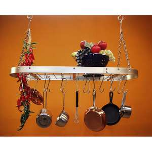 Stainless Steel Pot Rack with Low Profile Frame and Utility Grate