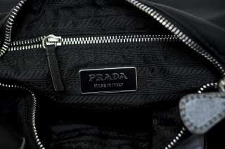 PRADA Black Leather + Nylon Shoulder BELT BAG Handbag Purse