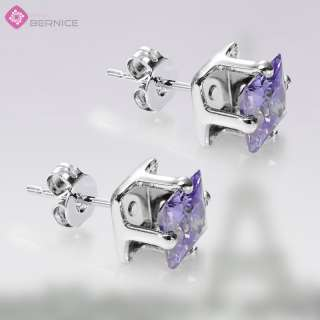 JEWELRY PRINCESS CUT TANZANITE WHITE GOLD 18GP STUD EARRINGS