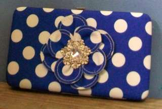 BLUE POLKA DOT RHINESTONE FLOWER PURSE FLAT WALLET