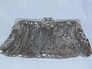 silver metal mesh clutch purse bag vintage rhinestones 2949