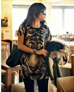 New Womens Fashion T shirts Casual Printed Tiger Long NWT Top T shirt