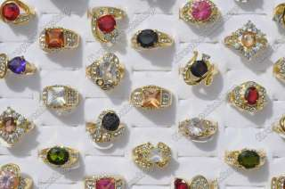 lots 50 Rhinestone Cubic Zirconia Gold rings wholesale