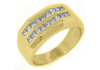 MENS 1.5 CARAT PRINCESS SQUARE CUT DIAMOND RING WEDDING BAND 14KT
