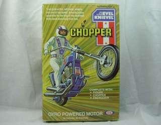Evel Knievel Gyro Powered Stunt Chopper Motor Cycle PlaySet Used Box