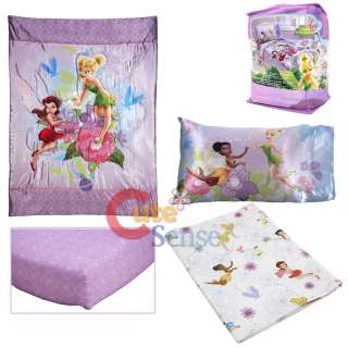 Disney Tinkerbell Fairies Toddler Bedding Comforter Set   4pc