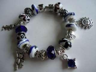 European Style Silver 925 Charm Bracelet. Murano Glass Beads.