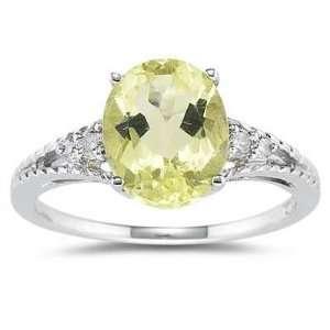 Oval Cut Lemon Quartz & Diamond Ring in White Gold SZUL