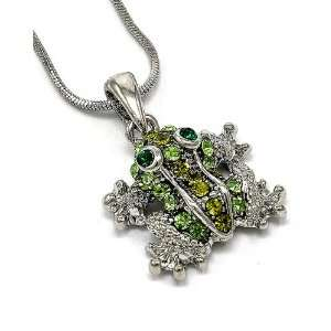 Silvertone Green Rhinestone Frog Pendant Necklace Fashion Jewelry