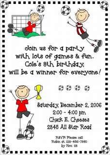 Custom Personalized SOCCER KIDS Birthday Invitations