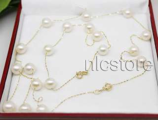 set AAA pearl 14k solid gold chain necklace 18 bracelet 7.5