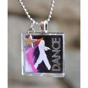 Dance Hip Hop Square Glass Tile Pendant Necklace Jewelry Wearable Art