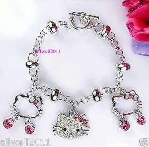 Kitty Bracelet Fashion Crystal Bling Rhinestone Super Cute Gift