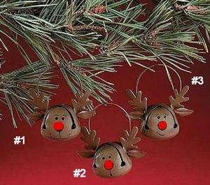 Jingle Bell Reindeer Christmas Ornament, priced each