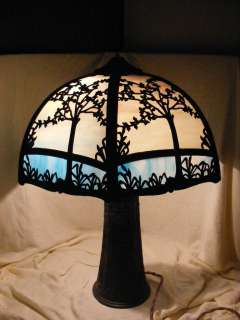 And Slag Glass Tiffany Style Table Lamp Shade Tree Design Old