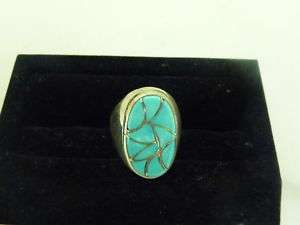 Mens Sterling Silver Turquoise Inlayed Oval Ring