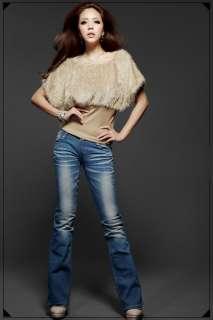 Fashion Lady Causal Bat Sleeve Slim Rib Waist Plush Tops Outwear T