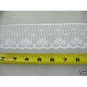 Lace Edge Trim 2 1/4 In White Abstract LEB02: Arts, Crafts