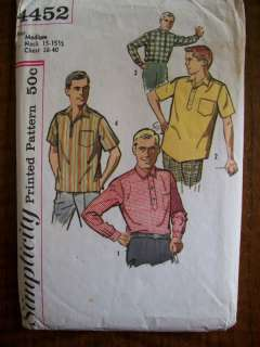 VTG 1950s MENS SPORTS SHIRTS Sewing Pattern SZ 38 40