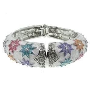 Pastel Silver Tone Crystal Bangle Bracelet Fashion Jewelry