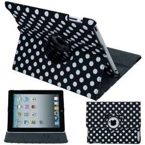 Black and White Polka Dots 360 Rotating Leather Case for Apple iPad 2