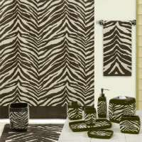 Safari Brown & Tan Zebra Print Bath Accessories Bathroom Collection