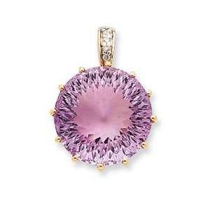 14K Rose Gold, Pink Amethyst & Diamond Pendant Jewelry
