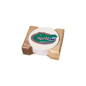 University Florida Gator Four 4 Absorbent Coaster Gift Set With Wooden
