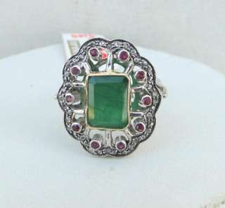 VICTORIAN DIAMOND EMERALD & RUBY 14 K GOLD SILVER RING