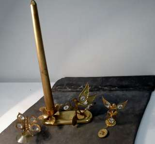 24K Gold Plated Candle Holder Angels Austrian Crystal