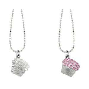 Mini Pave Cupcake Necklace with Pink Crystals and Ball Chain: Jewelry