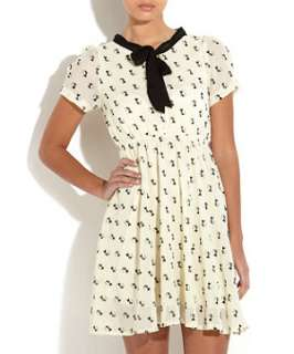 Cream (Cream) Simrik Cream and Black Cat Print Dress  253342313  New