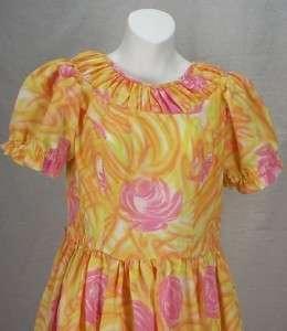 Vtg Womens H BAR C Rockabilly Flower Dress