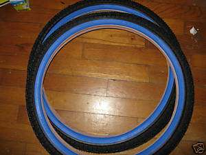 NOS NEW BLUE BMX FREESTYLE STREET BIKE TIRES 20 x 1.95
