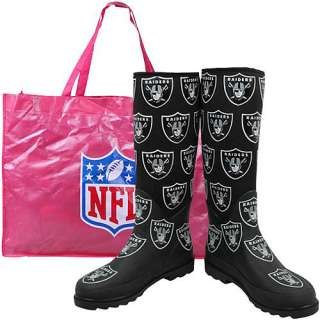 Cuce Shoes Oakland Raiders Womens Enthusiast Rain Boot
