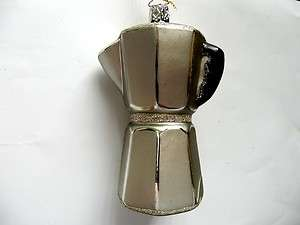 COFFEE ESPRESSO POT PERKULATOR GERMAN BLOWN GLASS CHRISTMAS ORNAMENT