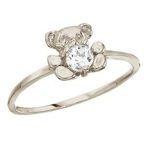 White Gold April Birthstone Baby Teddy Bear and White Topaz Ring