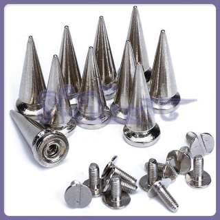 25mmNickel Plated Cone Screwback Spikes Studs Silver Punk Rock Spike