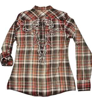 New 2012 Roar Womens Leaha Embroidered Graphic Plaid Shirt Red