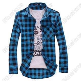 Slim Fit Casual & Dress Plaid Check Shirt Korean Style Blue Red Black