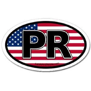 Puerto Rico PR and US Flag Car Bumper Sticker Decal Oval