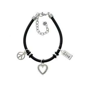 Live Black Peace Love Charm Bracelet Arts, Crafts