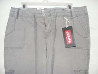 New LEVIS gray khaki boyfriend fit Cargo pants jeans size 6 roll up