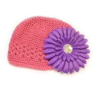 Hat Fits 0   9 Months With a 4 Purple Gerbera Daisy Flower Hair Clip