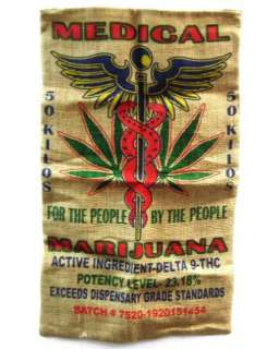 MEDICAL MARIJUANA BURLAP BAG 015 bags hippie feed sacks NEW pot leaf