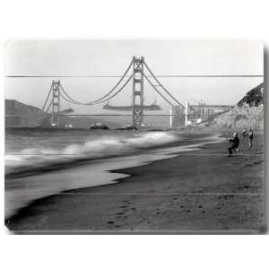 Golden Gate From Baker Beach Wooden Sign Home & Kitchen